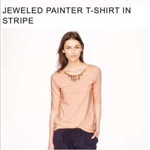 J Crew • Jeweled Painter T-Shirt in Navy Stripes